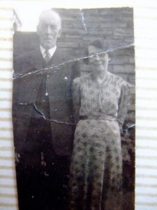 Harry Lambert, Alice Lambert, dressed up. Possibly their wedding day, Wold Newton, 1944.