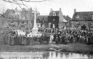 Bourton War Memorial unveiling 7 December 1920. Twelve more names were added after 1945.