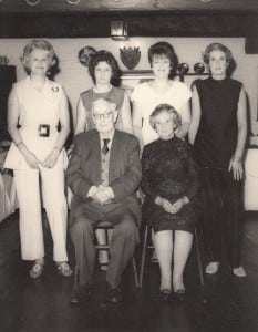The four sisters – Eileen, Nancy, Thelma, Peggy – with Bill and May.