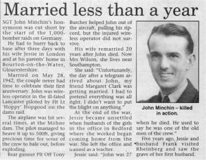 Undated newspaper cutting about John Minchin, killed in Dambusters Raid 1943