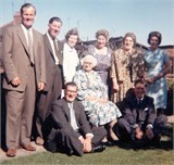 John Waite's grandmother, Annie Steel at the wedding. She sits at the front surrounded by her children: back row l to r: Jack,, Walter, Dora, Betty – John's mum – Nan and Ivy.  Front row Ike, Annie and Charles.