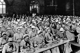 Mealtime inside a Liverpool workhouse, the last hope of the city many poor. Walton was built in 1864 to accommodate 1,000 inmates under the Master, Thomas Goode, grandfather of May Minchin.