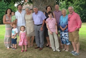 Caroline and Mark with Jack, Charlie and Ava; Susan and John; Sally and Alex with Jacob; Eileen, John