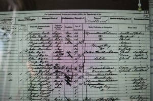 1861: High Street, Northleach. Census shows James Minchin, Eliza, Thomas and John.