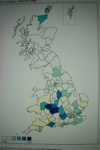 1999: The distribution of the Minchin surname in the UK, according to the Royal Mail.